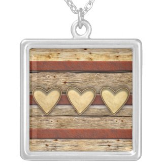 Rustic Americana Hearts Pendant