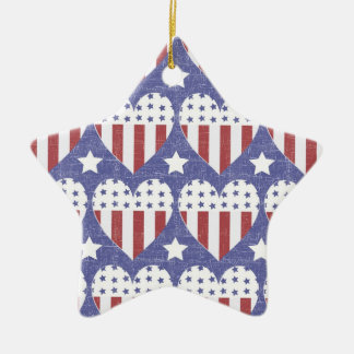 Rustic Americana Double-Sided Star Ceramic Christmas Ornament