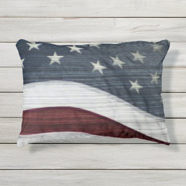 USA Themed Rustic Americana Outdoor Accent Pillow