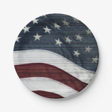 USA Themed Rustic Americana Paper Plates