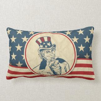 Rustic Americana Patriotic Uncle Sam Lumbar Pillow