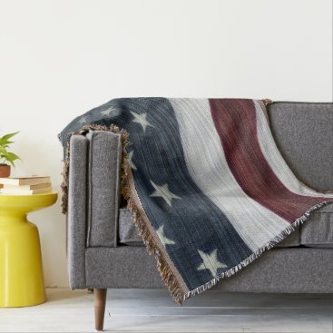 USA Themed Rustic Americana Throw Blanket