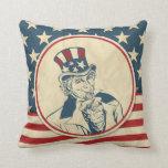 Rustic Americana Uncle Sam Patriotic Pillow