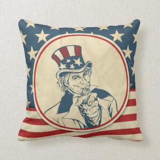 Rustic Americana Uncle Sam Patriotic Throw Pillow