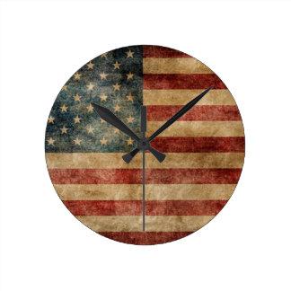 rustic americana,usa flag,grunge,vintage,tradition round clock