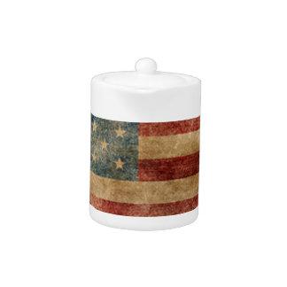 rustic americana,usa flag,grunge,vintage,tradition teapot