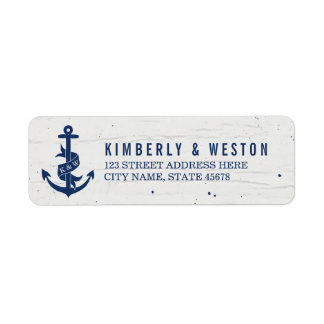 Rustic Anchor Monogram Return Address Labels