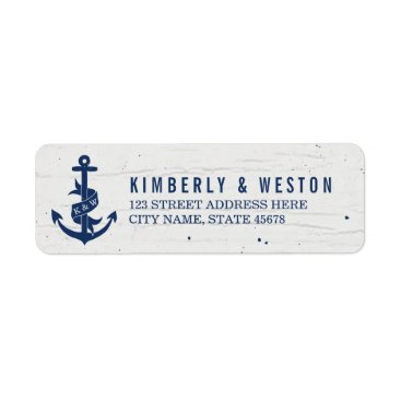 Beach Themed Rustic Anchor Monogram Return Address Labels