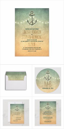 Rustic Anchor Nautical Wedding Collection Invites RSVP Bridal Shower Announcements