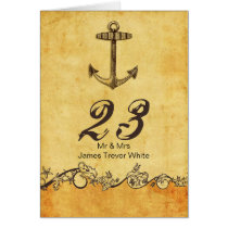 rustic anchor nautical wedding table numbers card