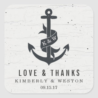 Rustic Anchor Personalized Wedding Favor Stickers