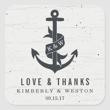 Beach Themed Rustic Anchor Personalized Wedding Favor Stickers