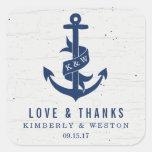 Rustic Anchor Wedding Favor Stickers / Navy