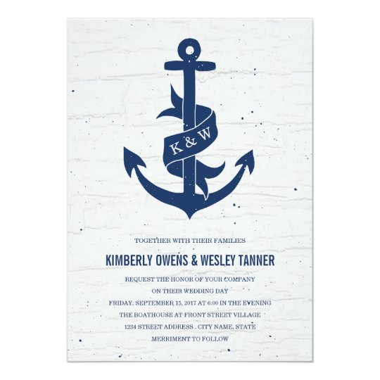 Rustic Anchor Wedding Invitation Navy Zazzlecom