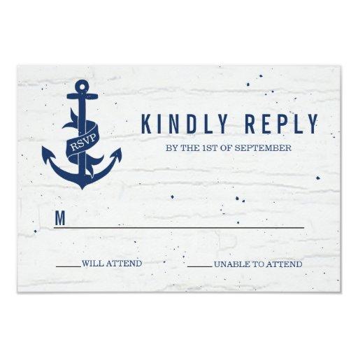 Rustic Anchor Wedding RSVP Card / Navy