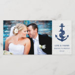 """Rustic Anchor Wedding Thank You Photo Card / Navy<br><div class=""""desc"""">Navy blue anchor on a wood like off-white background.  Easy to customize.  The back of the card is left blank - perfect for jotting down a personal note!  Please replace the template image prior to purchasing.</div>"""