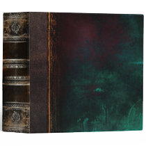 Rustic Ancient Tome Faux Black & Turquoise Binder