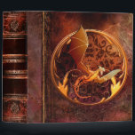 """Rustic Ancient Tome Faux Brown Leather Dragon Binder<br><div class=""""desc"""">Ornate scrollwork,  weathered grunge detail,  a burnished-gold dragon emblem graphic,  and faux leather enriched with a beautiful aged texture create a truly authentic looking &#39;ancient tome&#39; disguise for this trendy three-ring binder.</div>"""