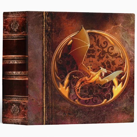Rustic Ancient Tome Faux Brown Leather Dragon Binder