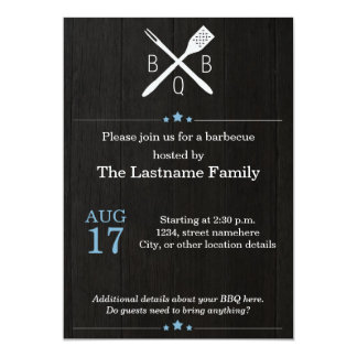 Rustic and Modern BBQ Invitations in Blue