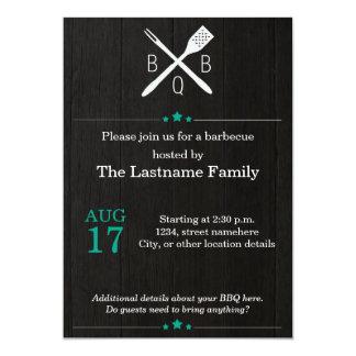 Rustic and Modern BBQ Invitations in Emerald
