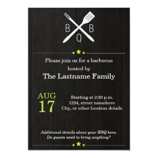 Rustic and Modern BBQ Invitations in Green