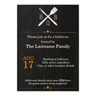 Rustic and Modern BBQ Invitations in Orange