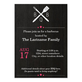 Rustic and Modern BBQ Invitations in Pink