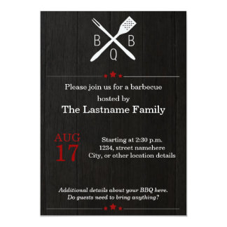 Rustic and Modern BBQ Invitations in Red