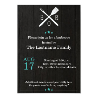 Rustic and Modern BBQ Invitations in Teal