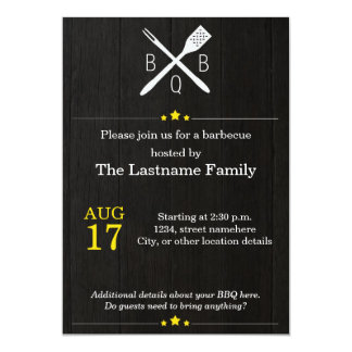 Rustic and Modern BBQ Invitations in Yellow