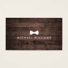 Rustic And Refined Men's Bow Tie Logo Brown Wood Business Card at Zazzle