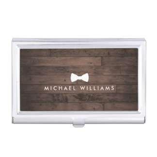 Rustic and Refined Men's Bow Tie Logo Brown Wood Business Card Holder
