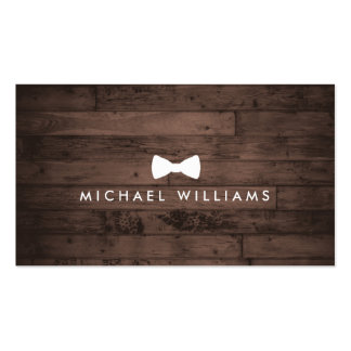 Rustic and Refined Men's Bow Tie Logo Brown Wood Double-Sided Standard Business Cards (Pack Of 100)