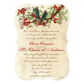 Rustic and Romantic Vintage Birds Wedding Invite