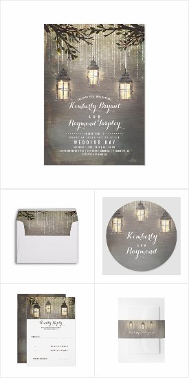 Rustic and Vintage Lanterns Distressed Wedding Invitation Set