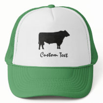 Rustic Angus Bull Silhouette Watercolor Trucker Hat