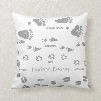 Rustic Animal Track Bear Deer Fox Woodland Pattern Throw Pillows
