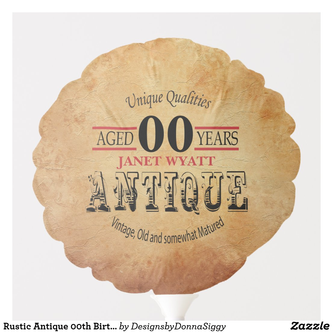 Rustic Antique 00th Birthday Balloon