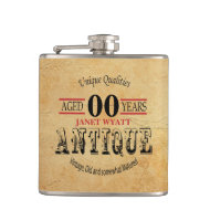 Rustic Antique 00th Birthday Flask