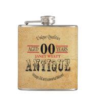 Rustic Antique 00th Birthday Flask