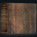 """Rustic Antique Ancient Tome Faux Brown 3 Ring Binder<br><div class=""""desc"""">Ornate scrollwork,  weathered floral detail,  and faux aged leather enriched with a beautiful cracked texture create a truly authentic looking &#39;ancient tome&#39; disguise for this trendy three-ring binder.</div>"""