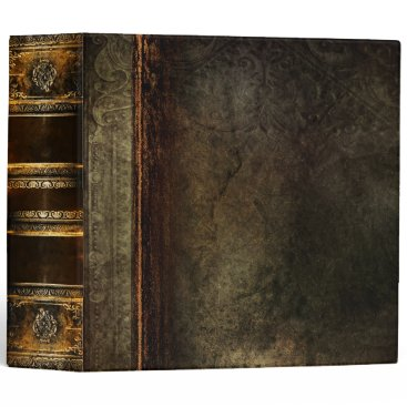 Rustic Antique Ancient Tome Faux Brown Leather 3 Ring Binder