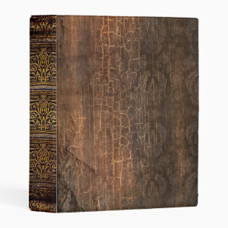Rustic Antique Ancient Tome Faux Brown Leather Mini Binder