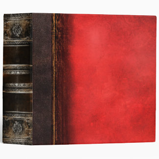 Rustic Antique Ancient Tome Faux Red Leather 3 Ring Binder