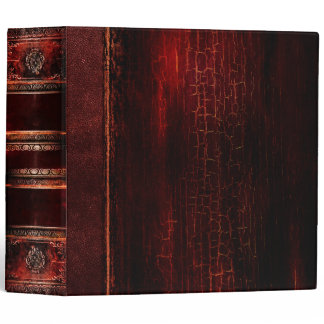 Rustic Antique Ancient Tome Faux Red Leather Binder