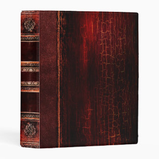 Rustic Antique Ancient Tome Faux Red Leather Mini Binder