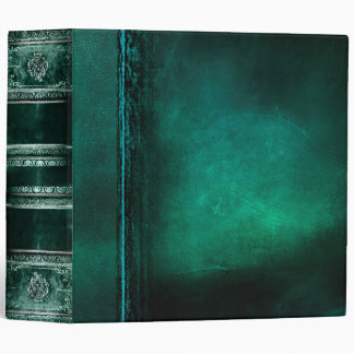 Rustic Antique Ancient Tome Faux Teal Leather 3 Ring Binder