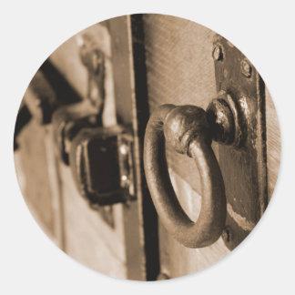 Rustic Antique Door Handle Pull and Latch Sepia Classic Round Sticker