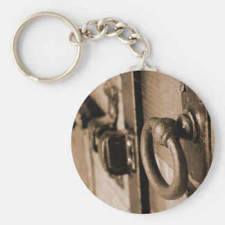 Rustic Antique Door Handle Pull and Latch Sepia Basic Round Button Keychain
